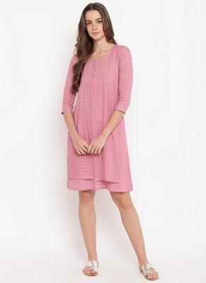 Pink Dobby Jacket Dress
