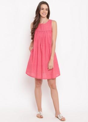 Pink Grid Gathered Dress