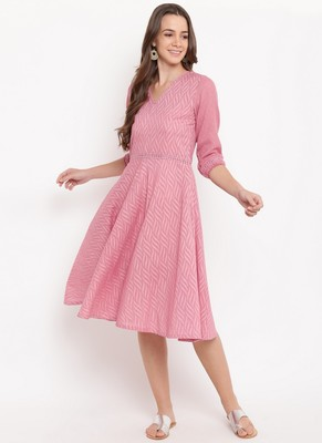 Pink Floral Dobby Lace Dress