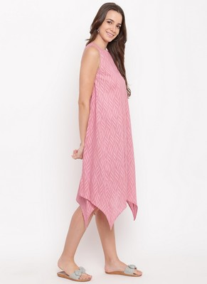 Pink Dobby Asymmetric Dress