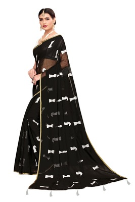 Black embroidered chanderi saree with blouse