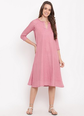Pink Grid Dobby Flared Dress