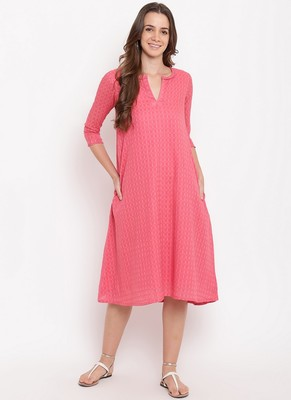Brick Pink Dobby Grid Flared Dress