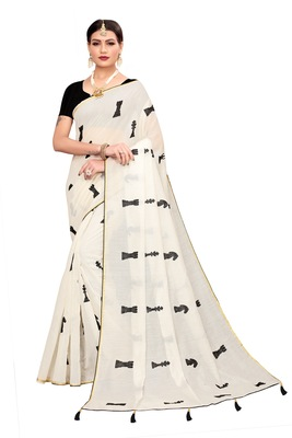 White embroidered chanderi saree with blouse