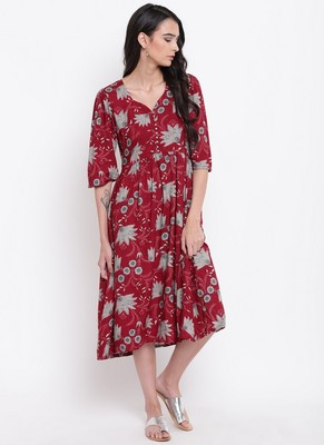 Maroon Grey Flower Button Dress