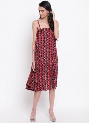 Red Chevron Strap Dress