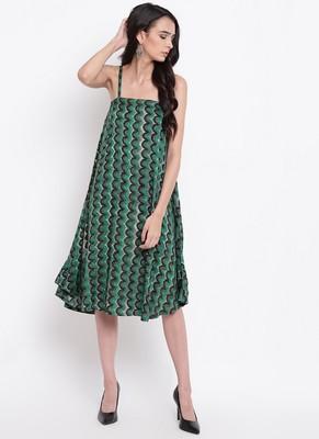 Green Chevron Strap Dress