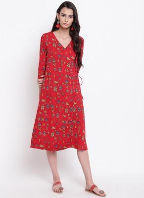 Red Print Angrakha Dress