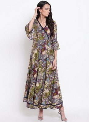 Green Circular Print Border Dress