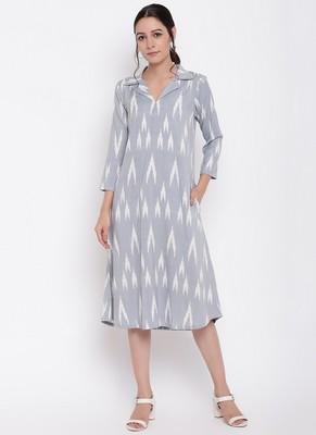 Blue Print Collar Dress