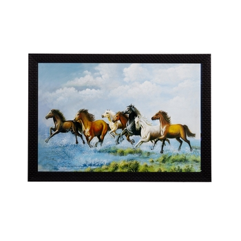Running 7 Lucky Horses Satin Matt Texture UV Art Painting