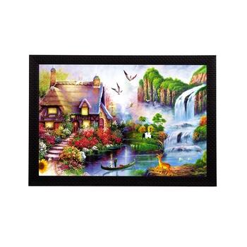 Village Scenic View and Waterfall Satin Matt Texture UV Art Painting