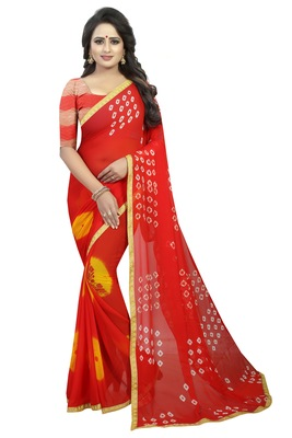 Red woven chiffon saree with blouse