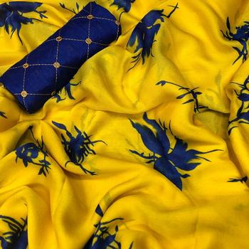 Mustard printed chiffon saree with blouse