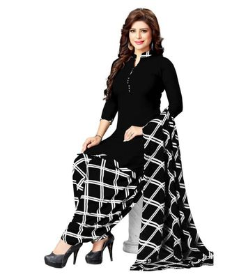 black printed synthetic unstitched salwar with dupatta