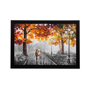 Loving Couple in rain Satin Matt Texture UV Art Painting