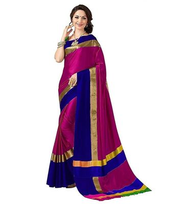 magenta woven cotton silk saree with blouse