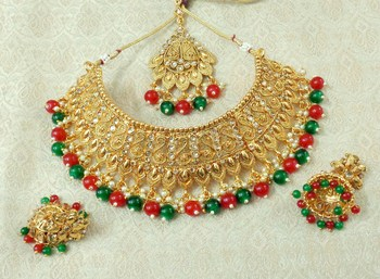 Lalso Designer Gold Plated Kundan Stone Multicolour Drops Bridal Choker Necklace Earring Jewelry Set - LCN25_MG