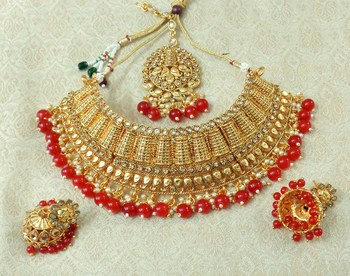 Lalso Designer Gold Plated Kundan Stone Maroon Drops Bridal Choker Necklace Earring Jewelry Set - LCN26_MR