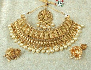 Lalso Designer Gold Plated Kundan Stone Golden Drops Bridal Choker Necklace Earring Jewelry Set - LCN26_LCT