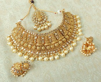 Lalso Designer Gold Plated Kundan Stone Golden Drops Bridal Choker Necklace Earring Jewelry Set - LCN27_LCT