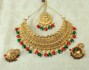 Lalso Designer Gold Plated Kundan Stone Multicolour Drops Bridal Choker Necklace Earring Jewelry Set - LCN28_MG