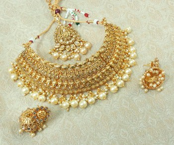 Lalso Designer Gold Plated Kundan Stone Golden Drops Bridal Choker Necklace Earring Jewelry Set - LCN28_LCT