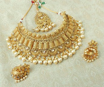 Lalso Designer Gold Plated Kundan Stone Golden Drops Bridal Choker Necklace Earring Jewelry Set - LCN29_LCT