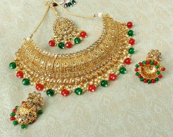 Lalso Designer Gold Plated Kundan Stone Multicolour Drops Bridal Choker Necklace Earring Jewelry Set - LCN30_MG