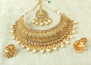 Lalso Designer Gold Plated Kundan Stone Golden Drops Bridal Choker Necklace Earring Jewelry Set - LCN30_LCT