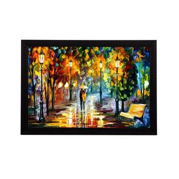 Loving Couple Under Umbrella in rain Satin Matt Texture UV Art Painting