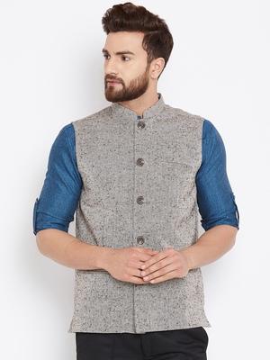 Beige woven wool nehru-jacket