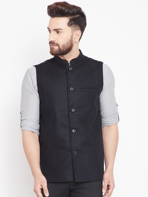 Black woven wool nehru-jacket