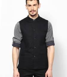 Black woven linen nehru-jacket