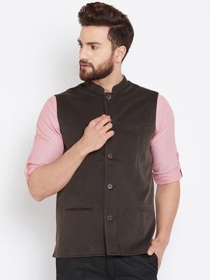 Brown woven wool nehru-jacket