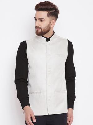 White woven poly cotton nehru-jacket