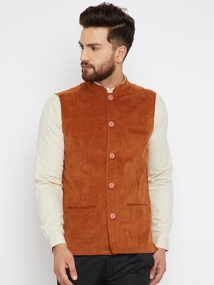 Orange woven poly cotton nehru-jacket