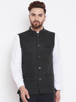 Grey woven wool nehru-jacket