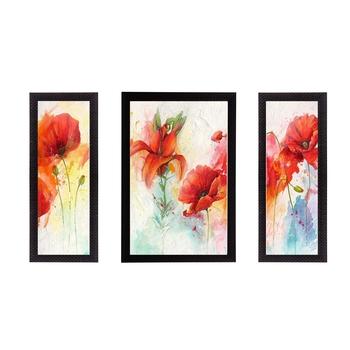 Set of 3 Botanical Floral Satin Matt Texture UV Art Painting