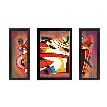Set of 3 Abstract Object Satin Matt Texture UV Art Painting