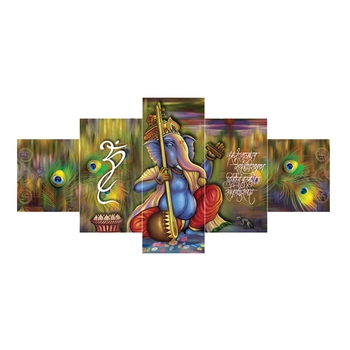 Set of 5 Lord Ganesha Premium Canvas Painting
