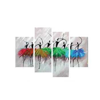 Set of 4 Abstract Dancing Lady Premium Canvas Painting