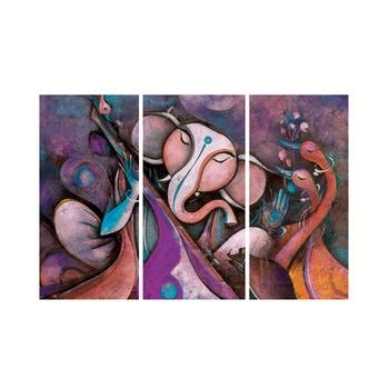 Set of 3 Lord Ganesha Premium Canvas Painting