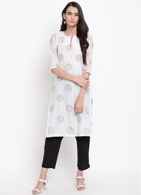 White Block Kurta