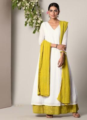 White Green Border Dress Green Silver Crinkle Dupatta Set
