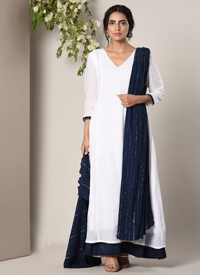 White Blue Border Dress Blue Silver Crinkle Dupatta Set
