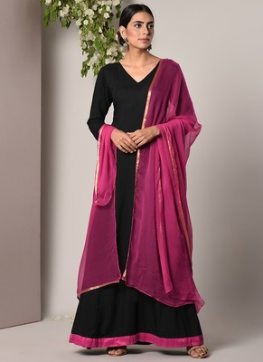Black Pink Border Dress Pink Chiffon Dupatta Set