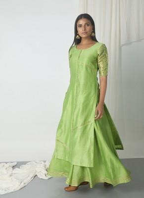 Chartreuse Green Chanderi Gota Skirt-Kurta Set
