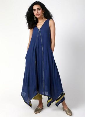 Blue Green Asymmetric Kurta-Pant