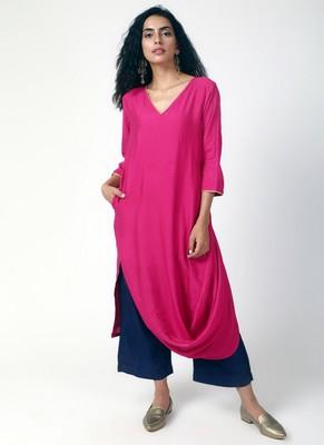 Pink Cowl Kurta-Pant